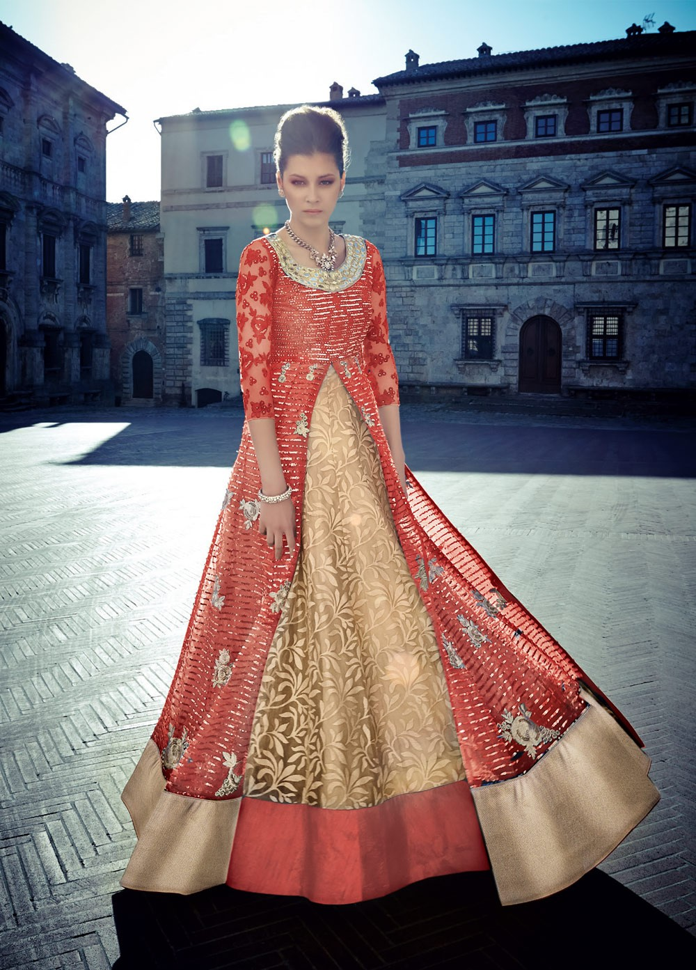 8eb5d975b8 Buy Red and gold lehenga style wedding anarkali in UK, USA and ...