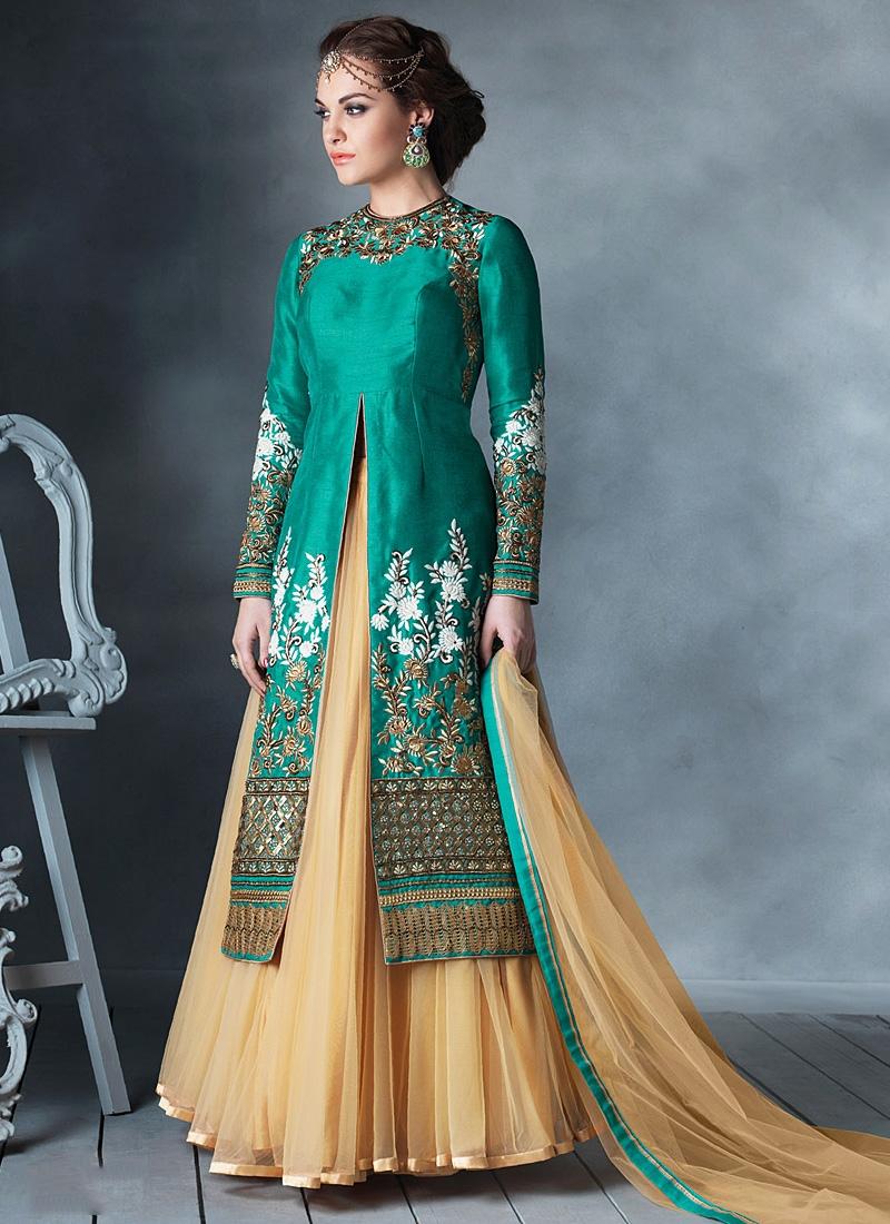 Obligingness Teal Bhagalpuri Silk Lehenga Style Anarkali Suit