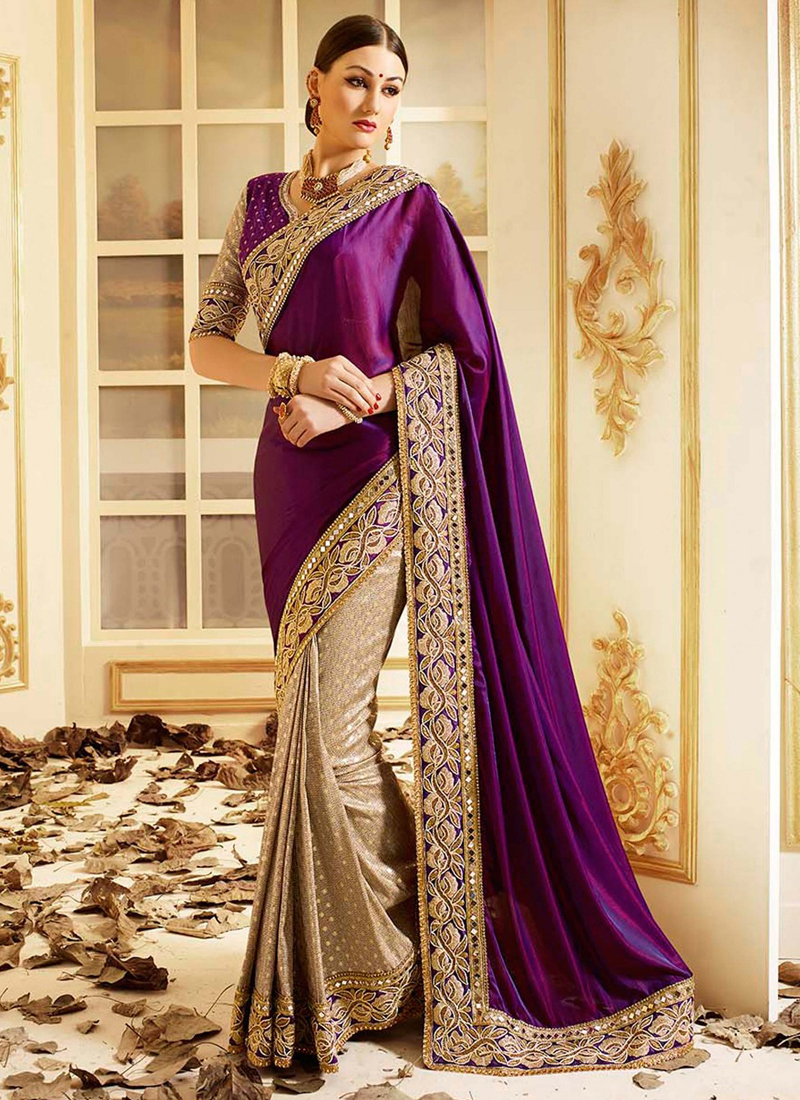 9f3ed9d7842c3c Party Sarees | Buy patch-border-work-party-wear-saree-purple-silk in ...