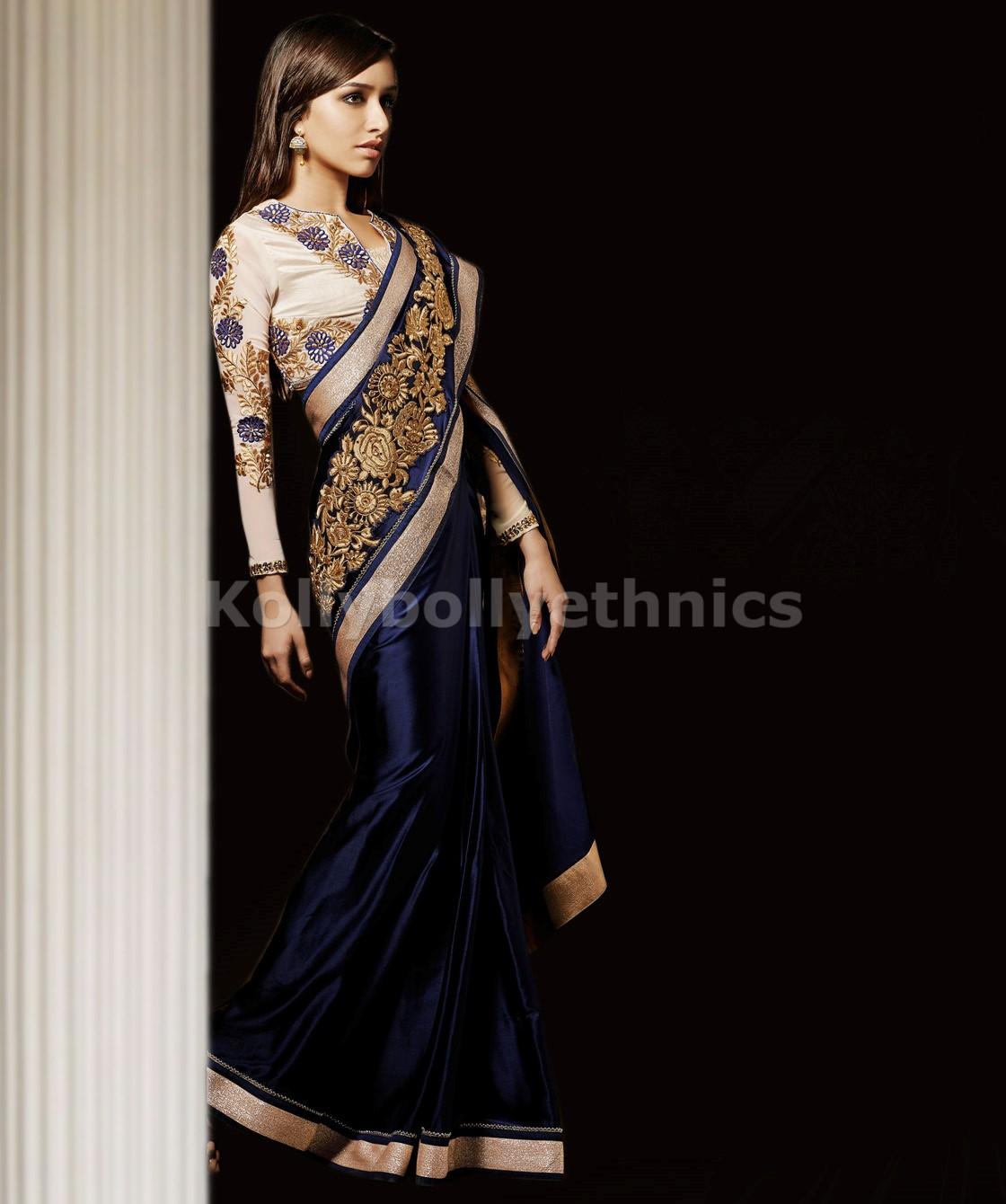 Blue And White Shraddha Kapoor Saree