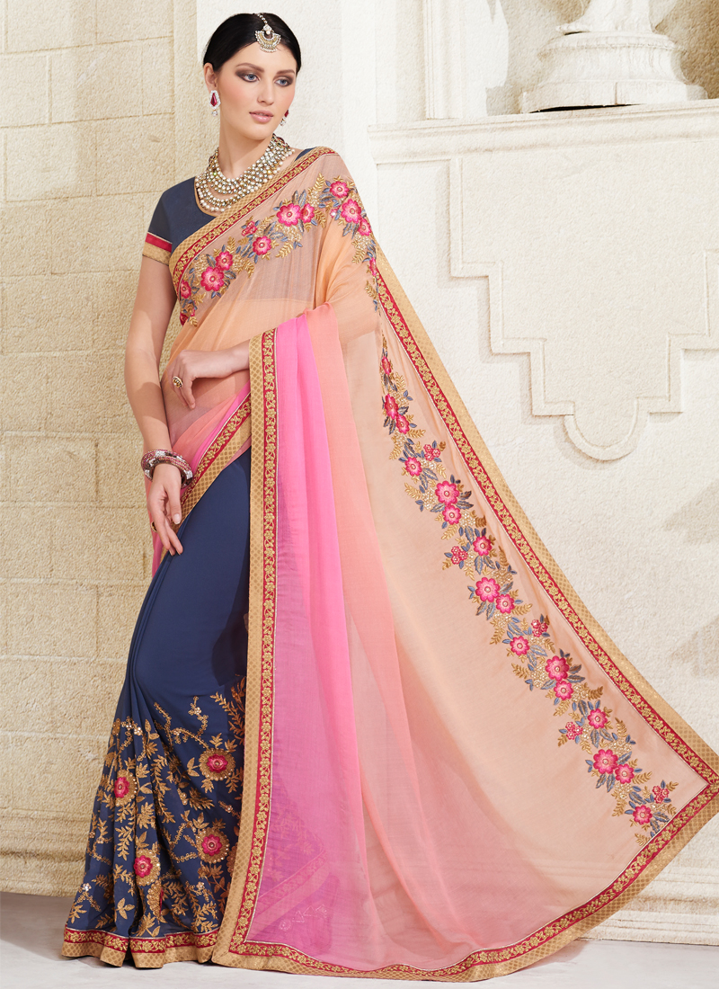 Party Sarees Buy Georgette Embroidery Work Party Wear Saree Multi