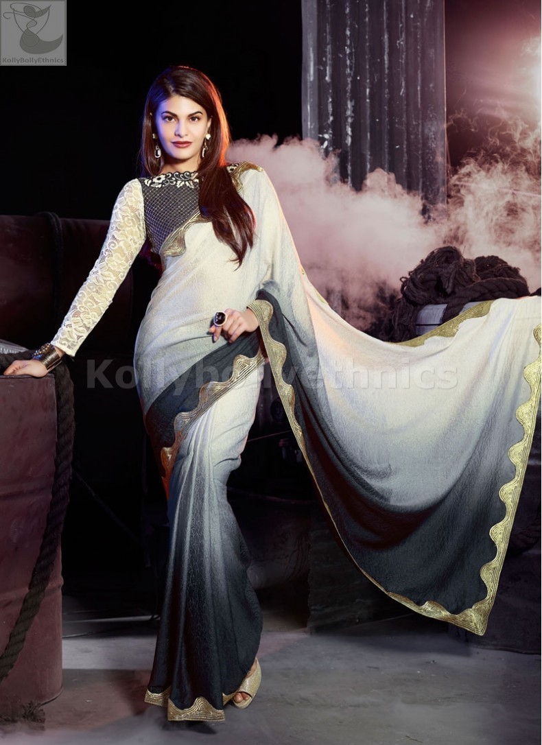 Jacqueline Fernandez Black and white zari Party wear saree 986ecdd4b