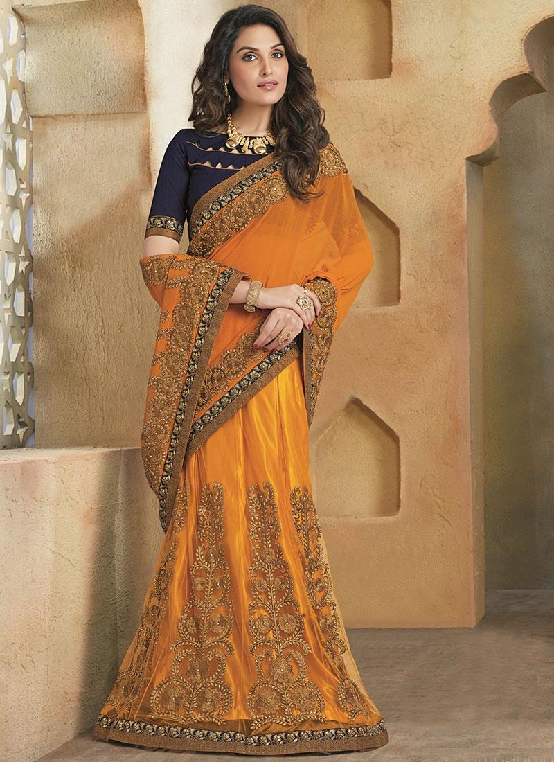 Designer Saris Online Shopping In Usa Uk Canada Buy Shrewdly Orange Georgette On Net Lehenga Saree