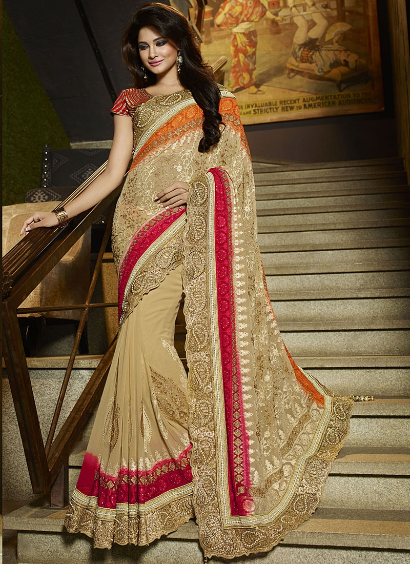 blest cream georgette designer wedding saree