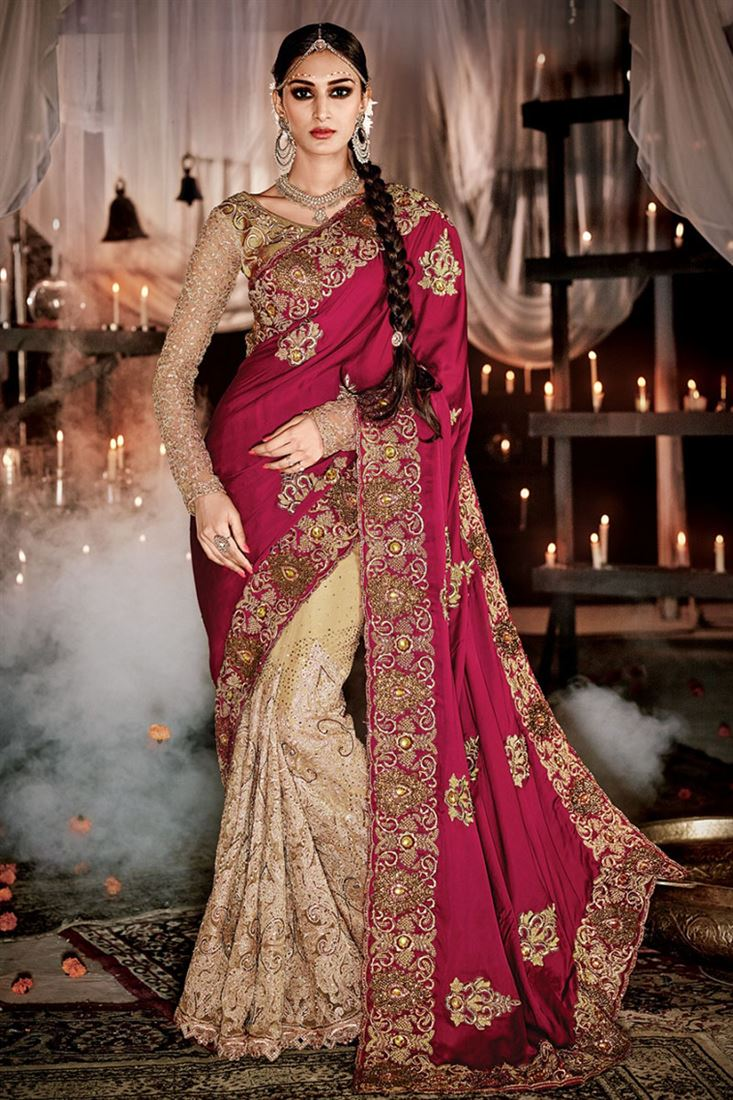 chic embroidered work designer wedding saree
