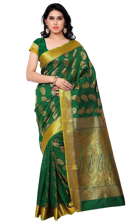 74b6368b47b370 Kanchipuram Art Silk Saree Mango design With Blouse Piece-Pakistani Green