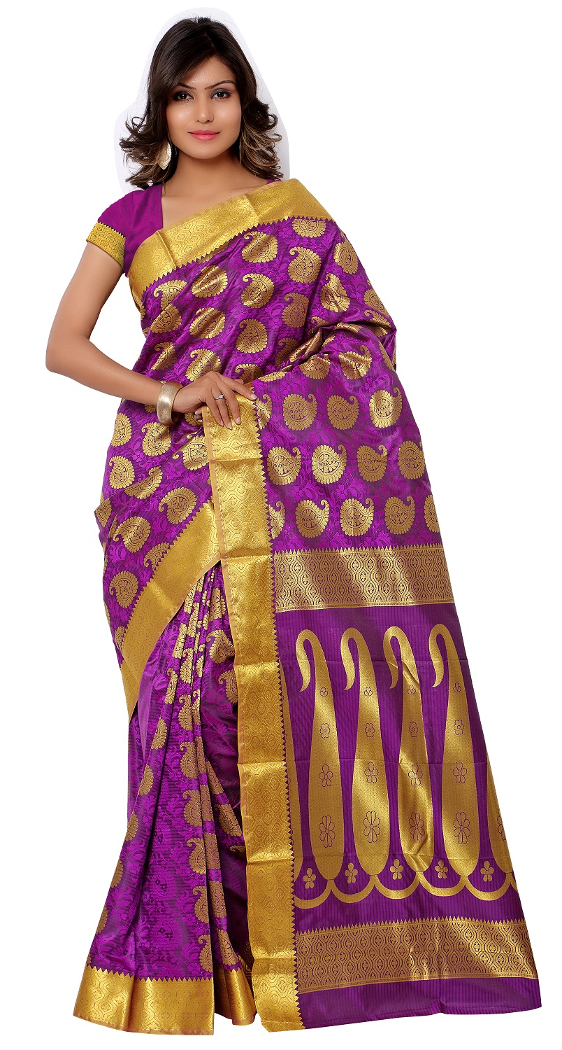 7e2f526a4ec67d Silk Sarees | Buy Kanchipuram Art Silk Saree With Blouse Piece-Pink ...