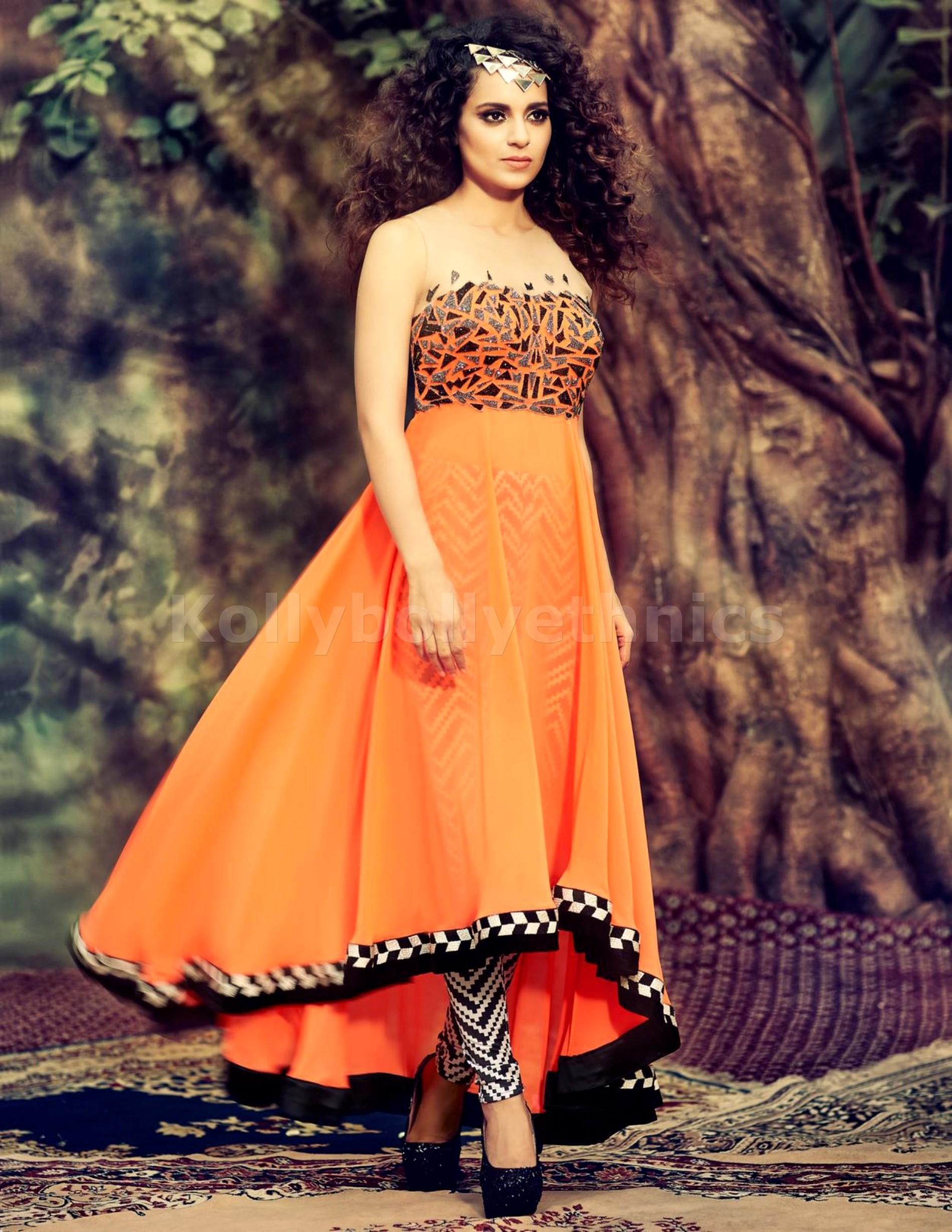 8df6013014 Kangana Ranaut Designer Orange Georgette Anarkali Suit