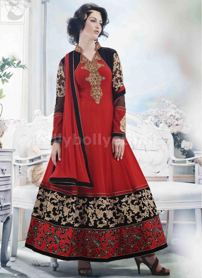 4979d70435 Black and red Wedding Wear Designer Anarkali salwar kameez