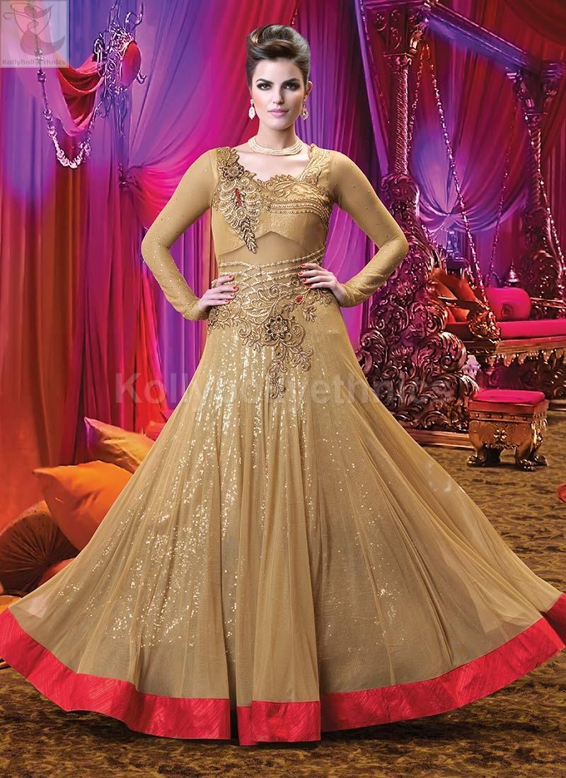 ce11ed5209 Beige golden Wedding Wear Designer Anarkali salwar kameez