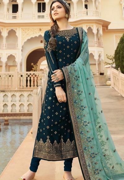 dark blue jacquard embroidered straight churidar suit 3702