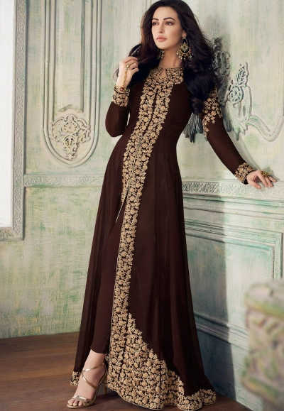 brown georgette heavy embroidered front slit trouser style suit 8207