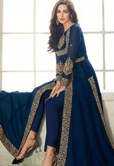 blue georgette embroidered trouser style suit 8206