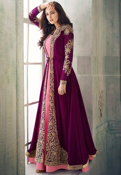 purple pink georgette embroidered jacket style suit 8203