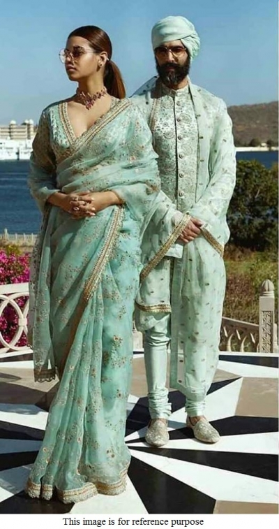 Bollywood Sabyasachi Inspired Turquoise Organza saree