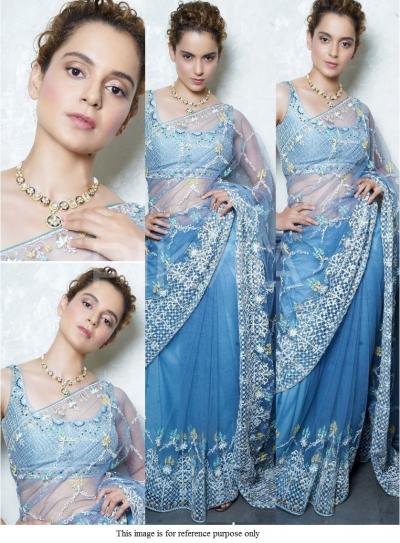 Bollywood Kangana Ranautt blue net saree