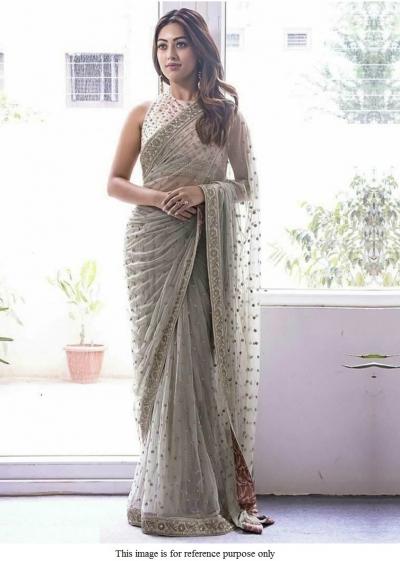Bollywood Anu Emmauel grey net designer saree