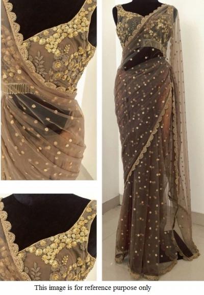 Bollywood Model Grey net designer saree