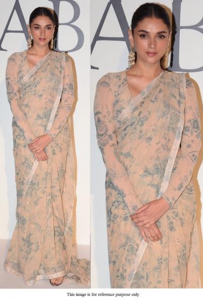 Bollywood Sabyasachi Inspired Aditi Rao beige printed saree
