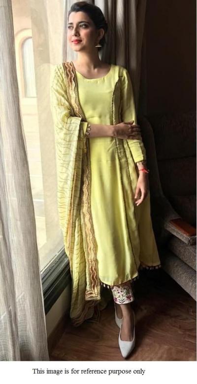 Bollywood model fresh green crepe silk kurta pant set