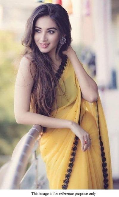Bollywood model yellow moti work georgette saree