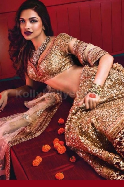 Deepika golden lehenga