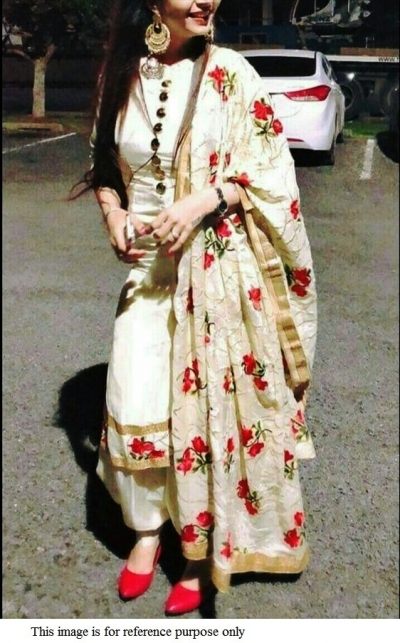 Bollywood model off white and red punjabi suit