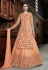Peach net embroidered indo western lehenga choli  4536
