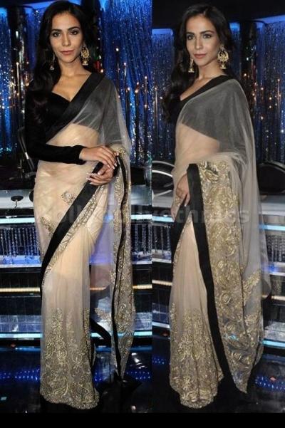 Humaima malik cream and black saree