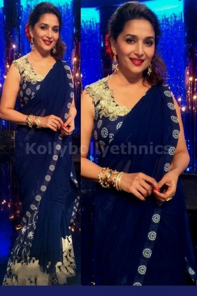 Madhuri dixit dark blue saree at jhalak dikla jaa