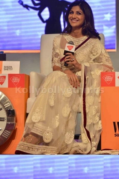 Shilpa shetty india today press meet white saree