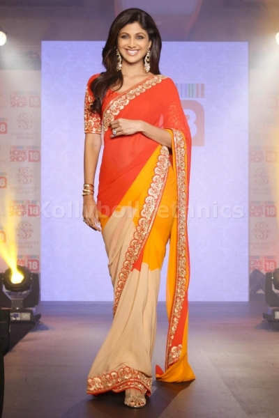 Shilpa shetty tri colour saree