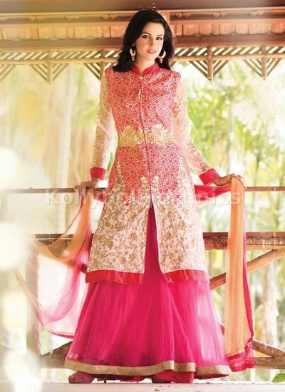 Off white and pink Wedding lehenga choli