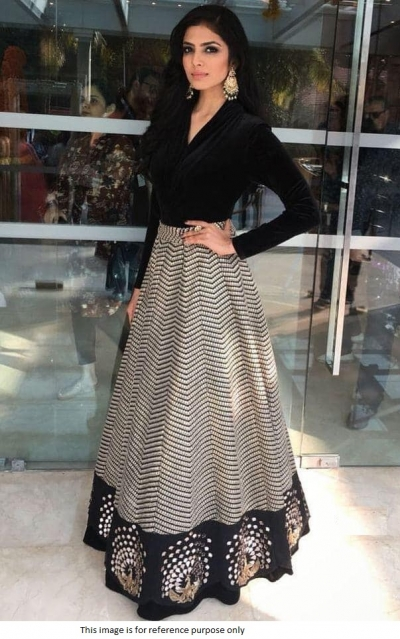 Bollywood Model Black banglori silk lehenga
