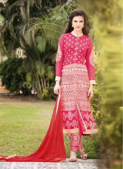 Pink zari Wedding pant style suit