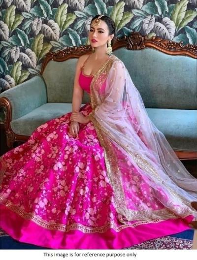Bollywood Sana Khan Inspired Pink wedding Lehenga