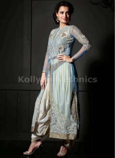 Light blue Dia mirza designer suit