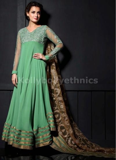 Sea green Dia mirza designer suit