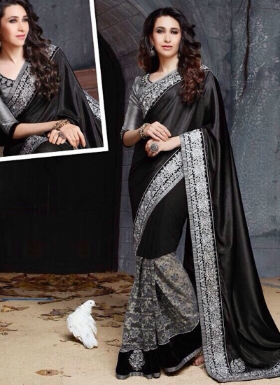 Karishma Kapoor Black and gray Party wear saree