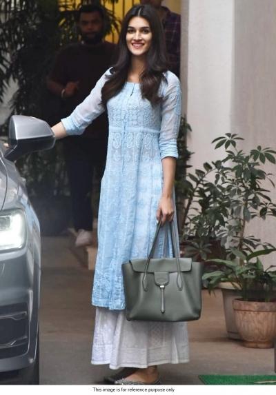 Bollywood Kriti sanon inspired blue and white kurta palazzo set