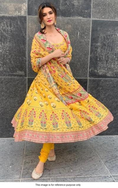 Bollywood Kriti Sanon Inspired Yellow crepe anarkali