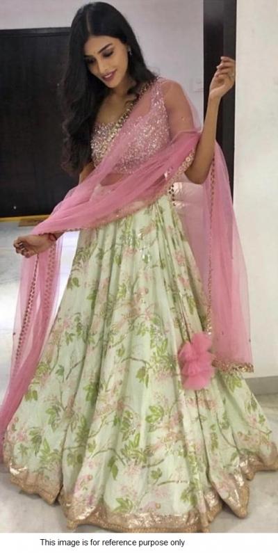 Bollywood Model Light green and Pink Banarasi satin lehenga