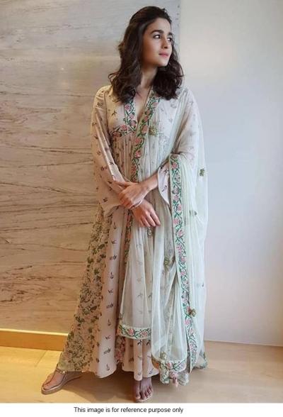 Bollywood Alia Bhatt Stone grey georgette anarkali