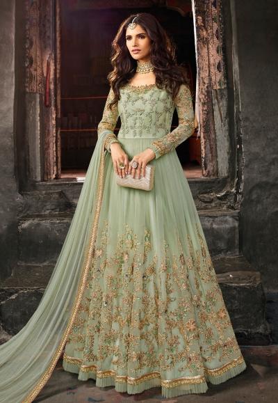 Light green net embroidered floor length anarkali suit 5401