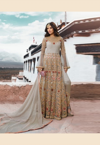 Gray net embroidered pant style suit 5402pant