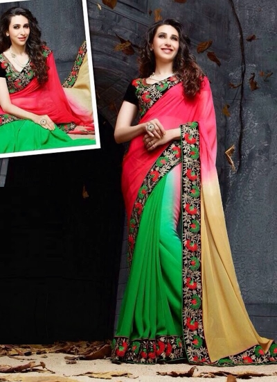 Karishma Kapoor black ,pink and green Party wear saree