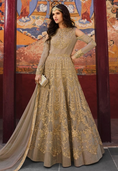 Gray net embroidered long anarkali suit 5405