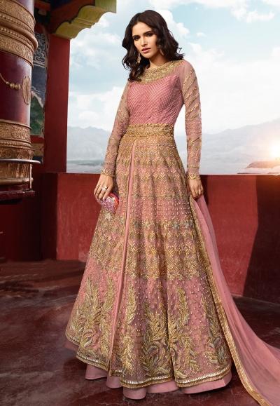 Pink banglori silk embroidered indo western lehenga choli 5406
