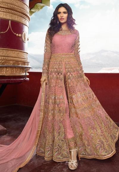 Pink banglori silk embroidered center slit anarkali suit 5406pant