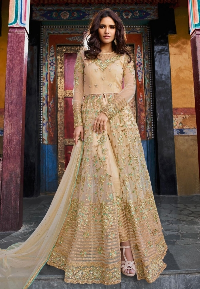 Beige banglori silk embroidered center slit anarkali suit 5407pant